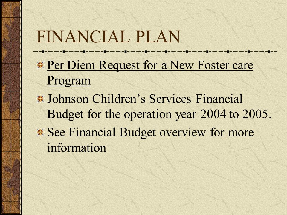 FINANCIAL PLAN Per Diem Request for a New Foster care Program Johnson Childrens Services Financial Budget for the operation year 2004 to 2005.