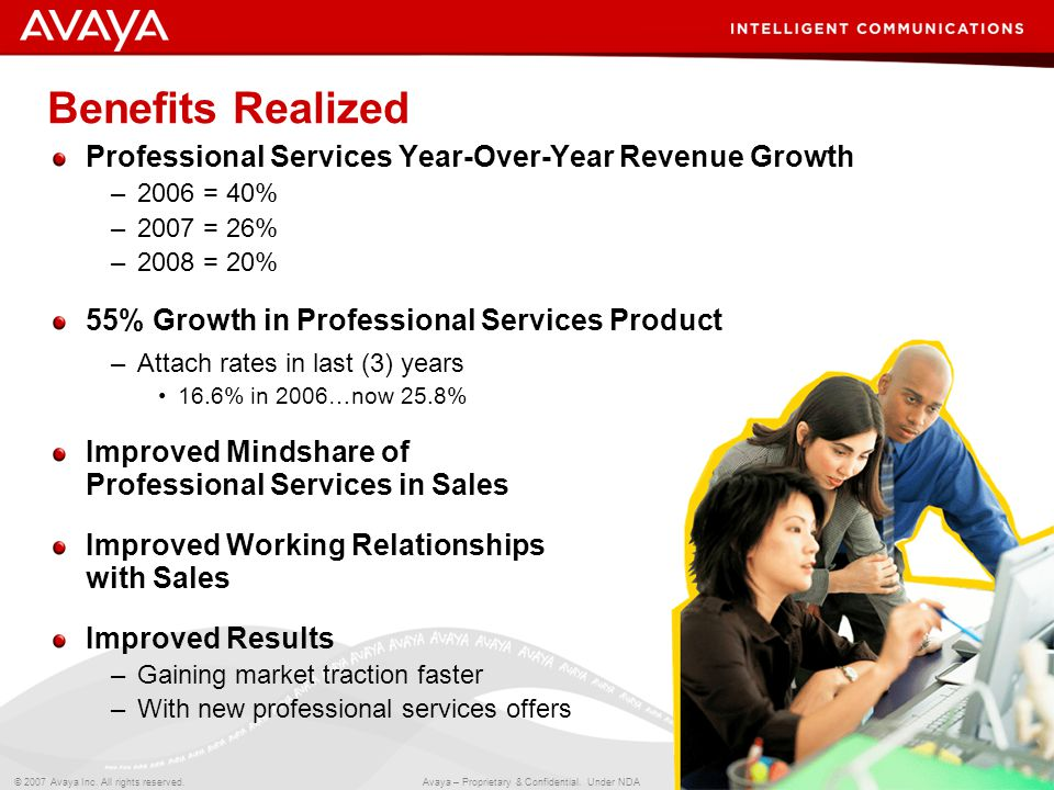 15 © 2007 Avaya Inc. All rights reserved. Avaya – Proprietary & Confidential. Under NDA Benefits Realized Professional Services Year-Over-Year Revenue