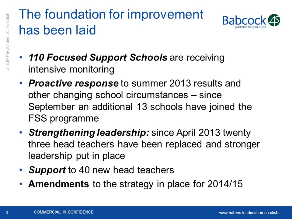 www.babcock-education.co.uk/4s Strictly Private and Confidential 3 The foundation for improvement has been laid 110 Focused Support Schools are receiv