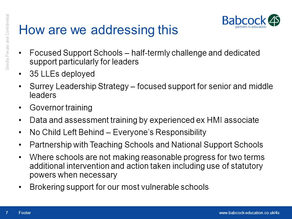 www.babcock-education.co.uk/4s Strictly Private and Confidential Footer7 Focused Support Schools – half-termly challenge and dedicated support particu