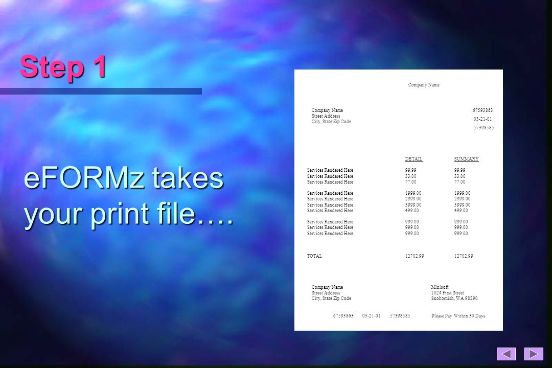 Step 1 eFORMz takes your print file….
