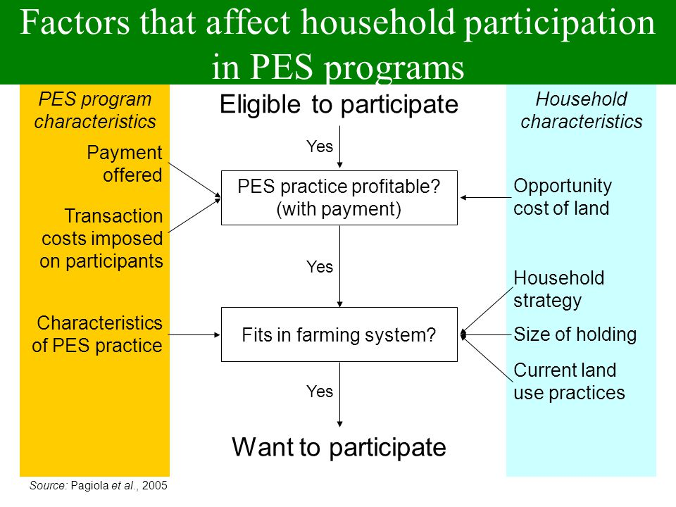 Factors that affect household participation in PES programs PES program characteristics Household characteristics PES practice profitable.
