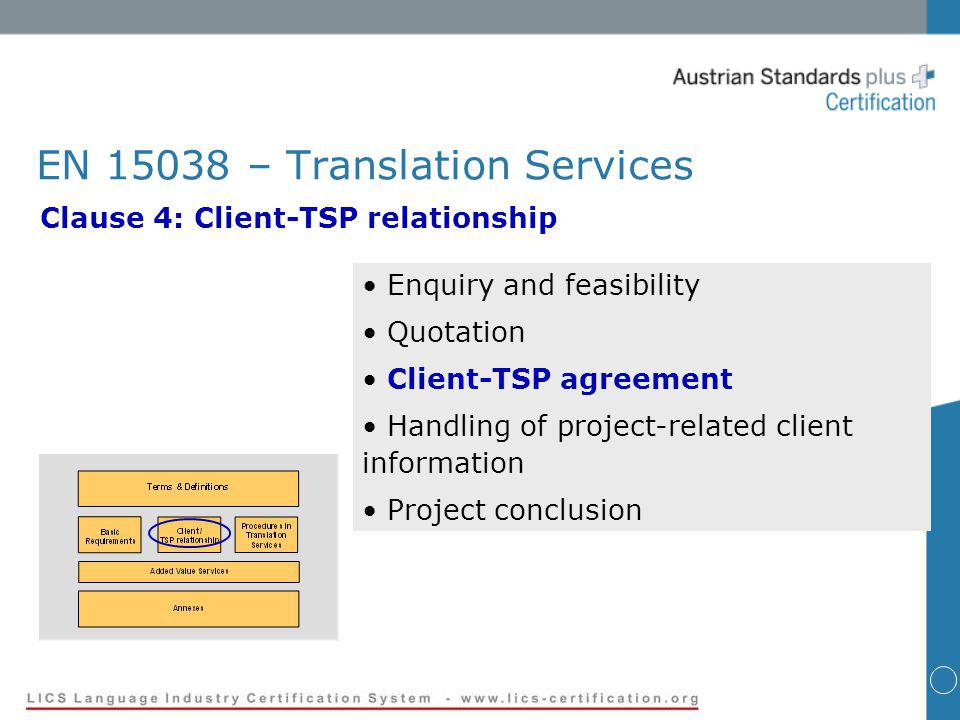 EN 15038 – Translation Services Clause 4: Client-TSP relationship Enquiry and feasibility Quotation Client-TSP agreement Handling of project-related client information Project conclusion