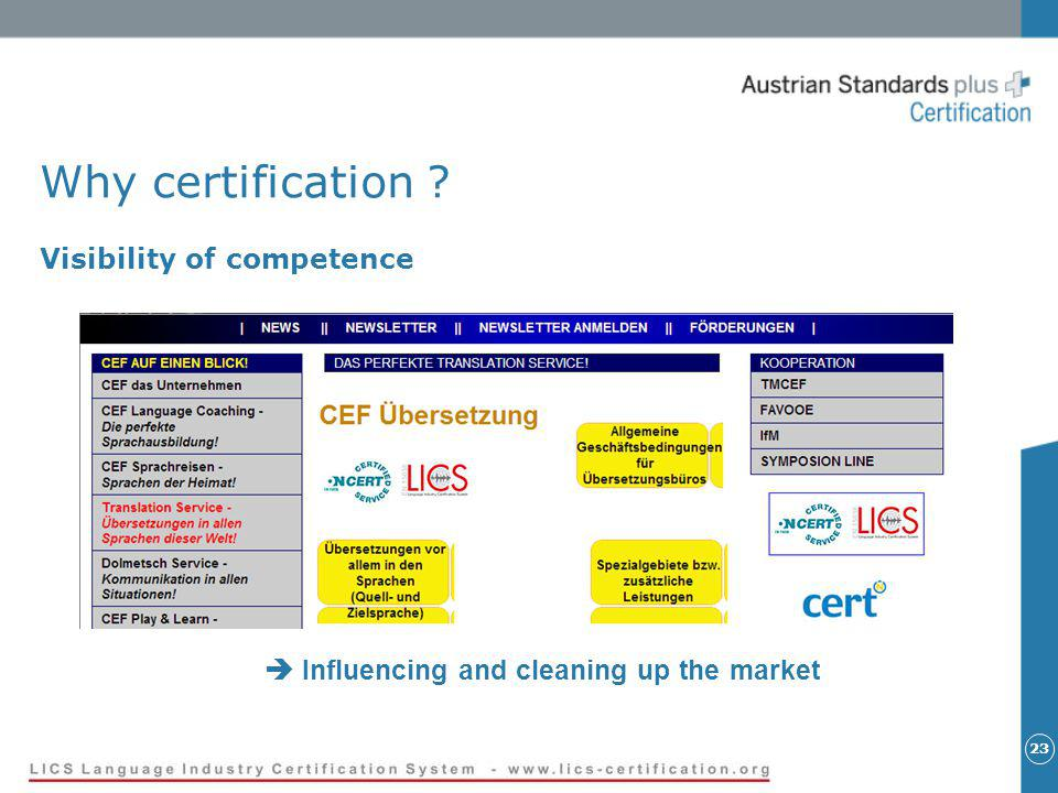 23 Why certification ? Visibility of competence Influencing and cleaning up the market