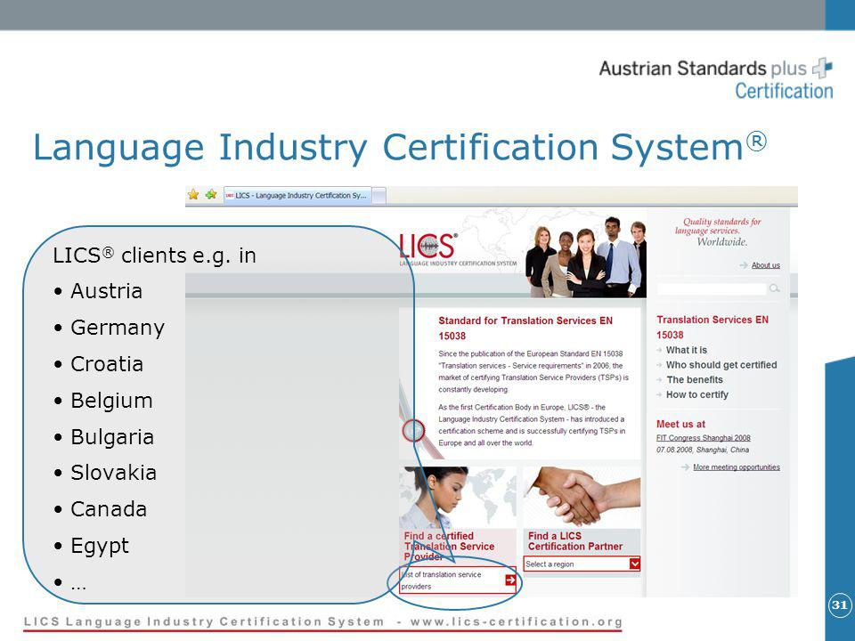 31 Language Industry Certification System ® LICS ® clients e.g.