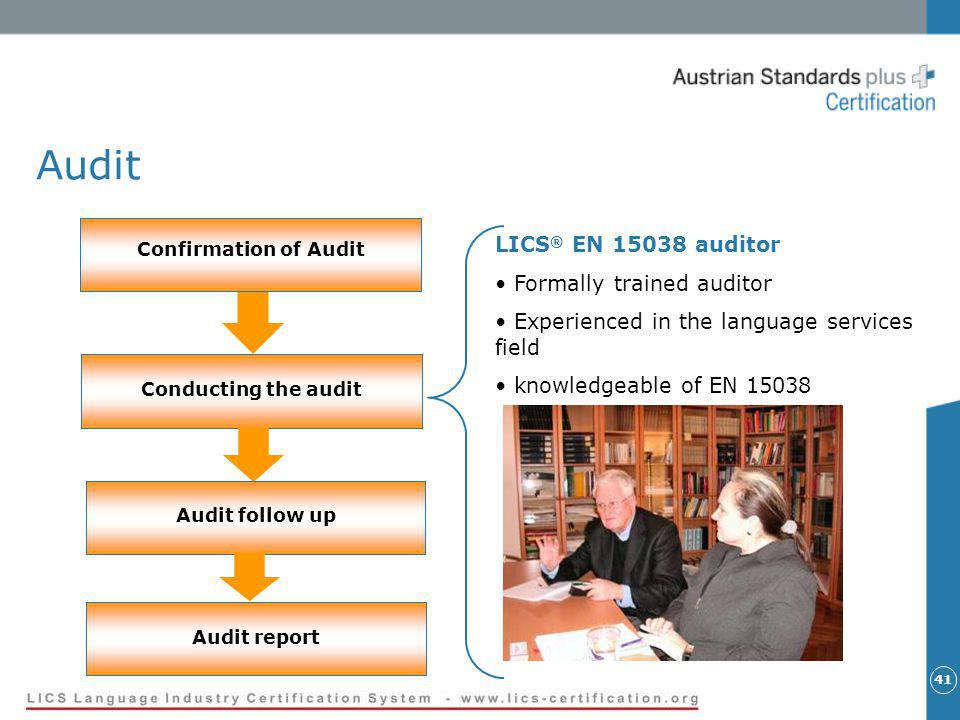 41 Audit Confirmation of Audit Conducting the audit Audit follow up Audit report LICS ® EN 15038 auditor Formally trained auditor Experienced in the language services field knowledgeable of EN 15038