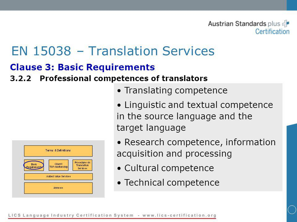 EN 15038 – Translation Services Clause 3: Basic Requirements 3.2.2Professional competences of translators Translating competence Linguistic and textual competence in the source language and the target language Research competence, information acquisition and processing Cultural competence Technical competence