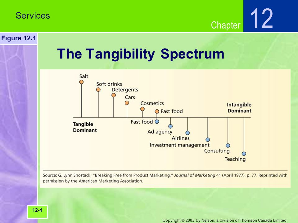 Chapter Copyright © 2003 by Nelson, a division of Thomson Canada Limited. The Tangibility Spectrum Services 12 Figure 12.1 12-4