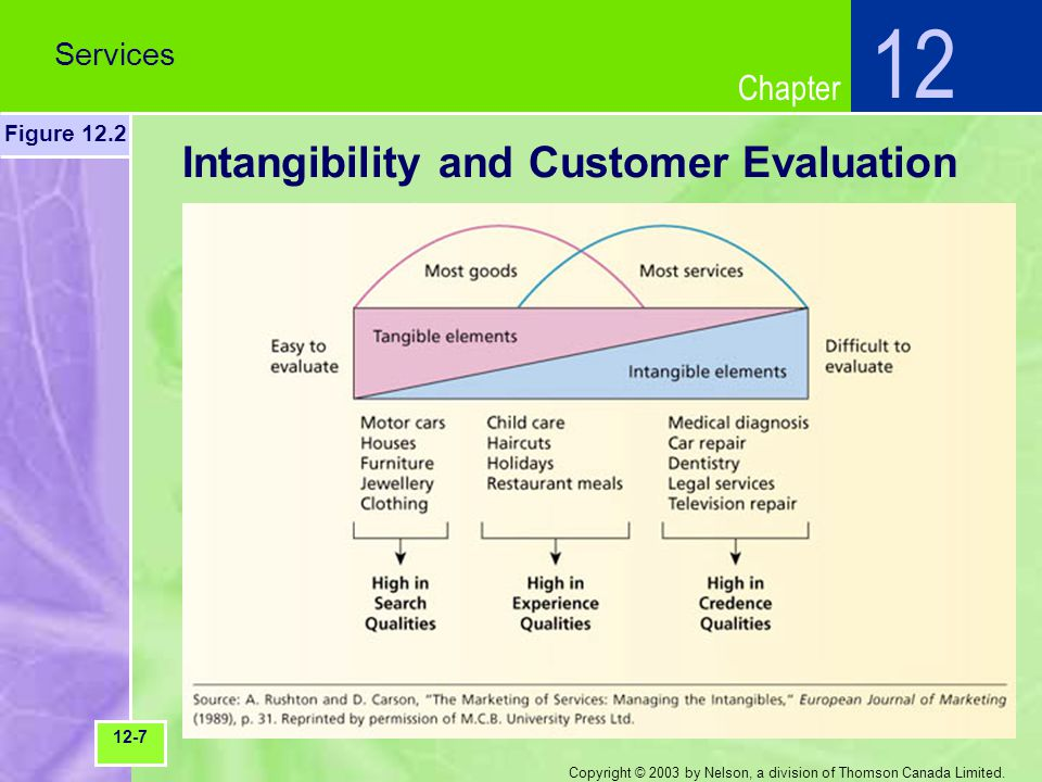 Chapter Copyright © 2003 by Nelson, a division of Thomson Canada Limited. Intangibility and Customer Evaluation Services 12 Figure 12.2 12-7