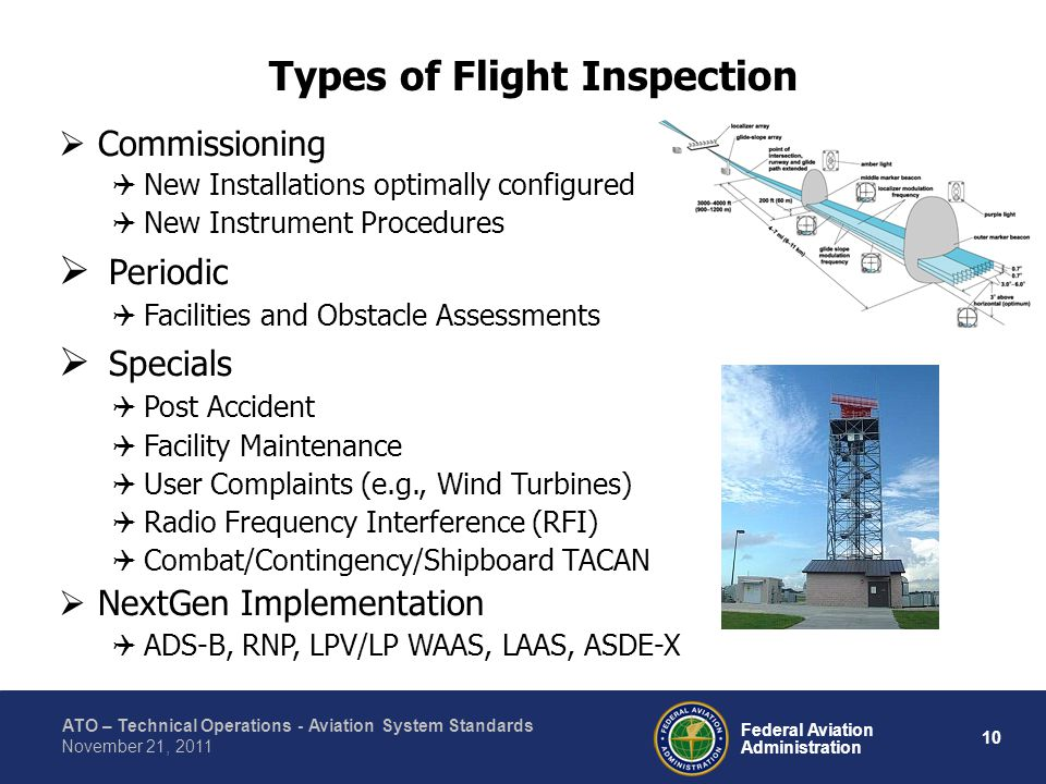 ATO – Technical Operations - Aviation System Standards 10 Federal Aviation Administration November 21, 2011 Types of Flight Inspection Commissioning New Installations optimally configured New Instrument Procedures Periodic Facilities and Obstacle Assessments Specials Post Accident Facility Maintenance User Complaints (e.g., Wind Turbines) Radio Frequency Interference (RFI) Combat/Contingency/Shipboard TACAN NextGen Implementation ADS-B, RNP, LPV/LP WAAS, LAAS, ASDE-X