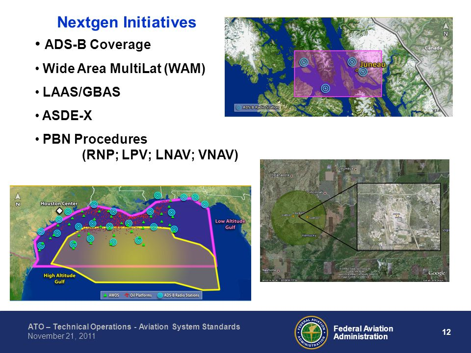 ATO – Technical Operations - Aviation System Standards 12 Federal Aviation Administration November 21, 2011 Nextgen Initiatives ADS-B Coverage Wide Area MultiLat (WAM) LAAS/GBAS ASDE-X PBN Procedures (RNP; LPV; LNAV; VNAV)