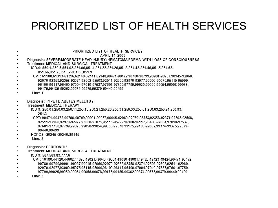 PRIORITIZED LIST OF HEALTH SERVICES APRIL 14, 2003 Diagnosis: SEVERE/MODERATE HEAD INJURY: HEMATOMA/EDEMA WITH LOSS OF CONSCIOUSNESS Treatment: MEDICAL AND SURGICAL TREATMENT ICD-9: , ,851.1, ,851.3, ,851.5, ,851.7, ,851.9 CPT: 61108, , ,62148, , , , , , , , , , , , , , , ,97799,99025, , , 99175, , , ,99499 Line: 1 Diagnosis: TYPE I DIABETES MELLITUS Treatment: MEDICAL THERAPY ICD-9: ,250.03,250.11,250.13,250.21,250.23,250.31,250.33,250.61,250.63,250.91,250.93, CPT: , , , , , , , , , , , , , , ,97799,99025, , ,99175, , , ,99499 HCPCS: G0245-G0246,S9145 Line: 2 Diagnosis: PERITONITIS Treatment: MEDICAL AND SURGICAL TREATMENT ICD-9: 567,569.83,777.6 CPT: 10180,44120,44602,44626,49021, , ,49420, , , , , , , , , , , , , , , , , 97799,99025, , ,99175, , , ,99499 Line: 3