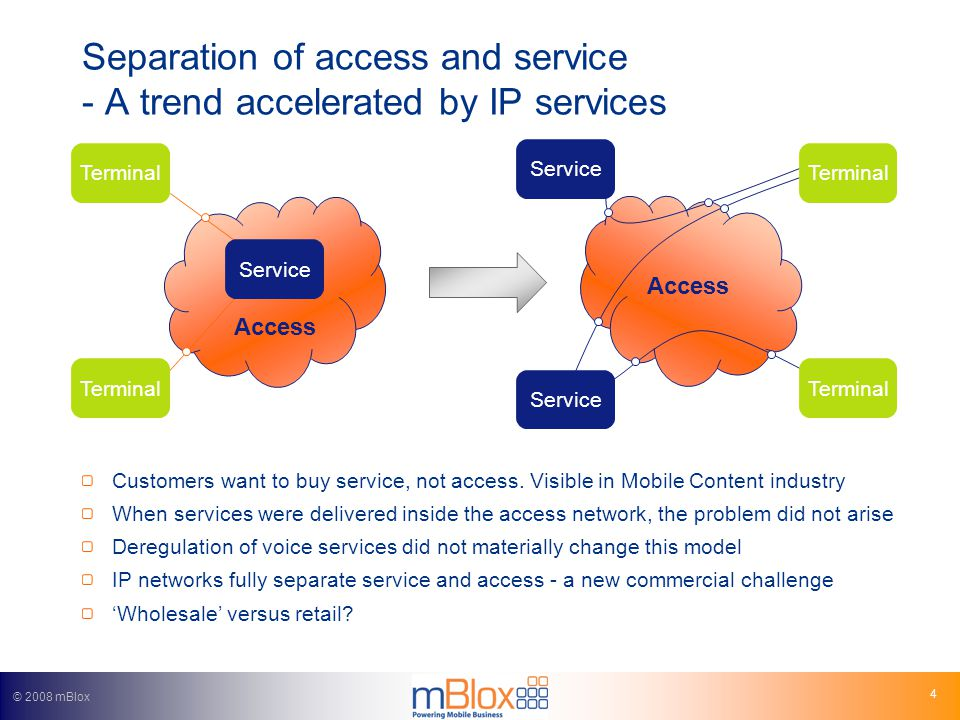 © 2008 mBlox 4 Separation of access and service - A trend accelerated by IP services Customers want to buy service, not access.