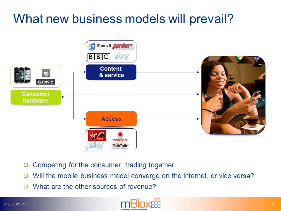 © 2008 mBlox 5 What new business models will prevail.