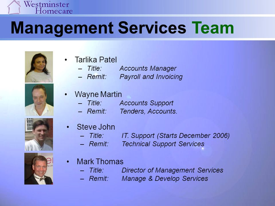 Management Services Team Mark Thomas –Title:Director of Management Services –Remit:Manage & Develop Services Tarlika Patel –Title: Accounts Manager –R