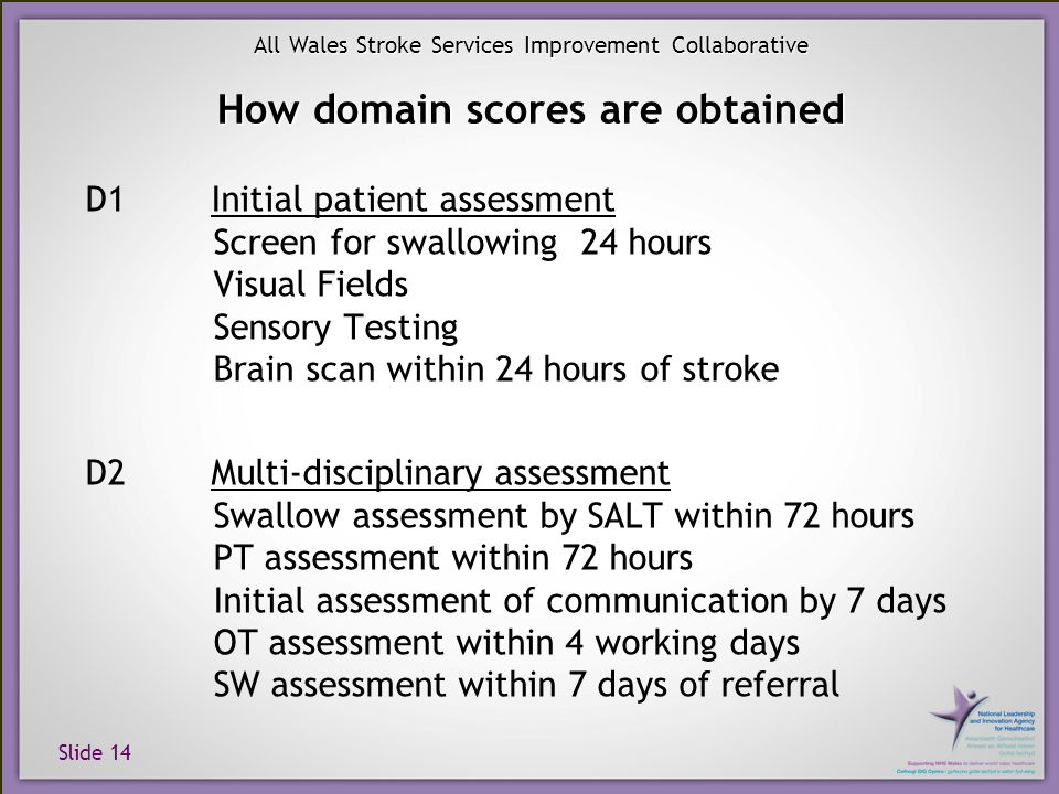 Slide 14 All Wales Stroke Services Improvement Collaborative How domain scores are obtained D1 Initial patient assessment Screen for swallowing 24 hou