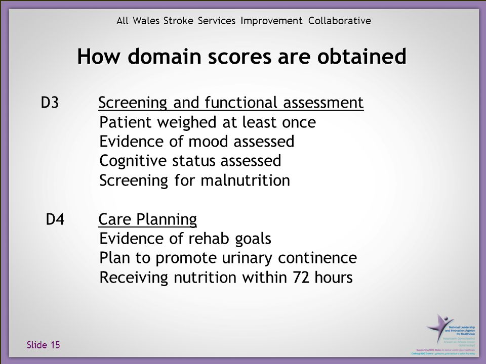 Slide 15 All Wales Stroke Services Improvement Collaborative How domain scores are obtained D3 Screening and functional assessment Patient weighed at least once Evidence of mood assessed Cognitive status assessed Screening for malnutrition D4 Care Planning Evidence of rehab goals Plan to promote urinary continence Receiving nutrition within 72 hours