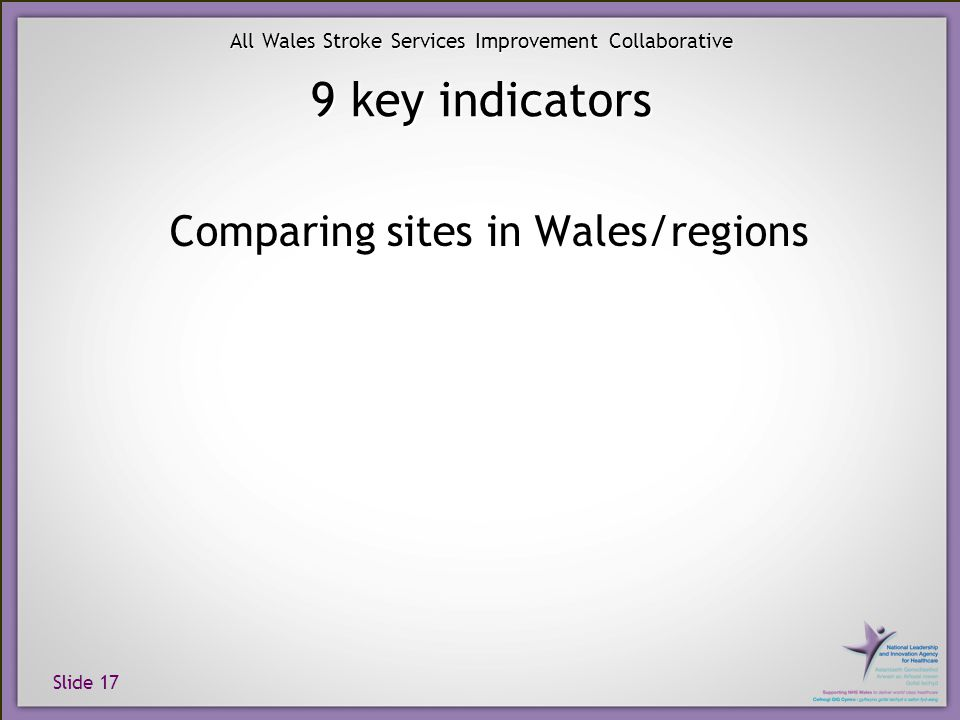 Slide 17 All Wales Stroke Services Improvement Collaborative 9 key indicators Comparing sites in Wales/regions