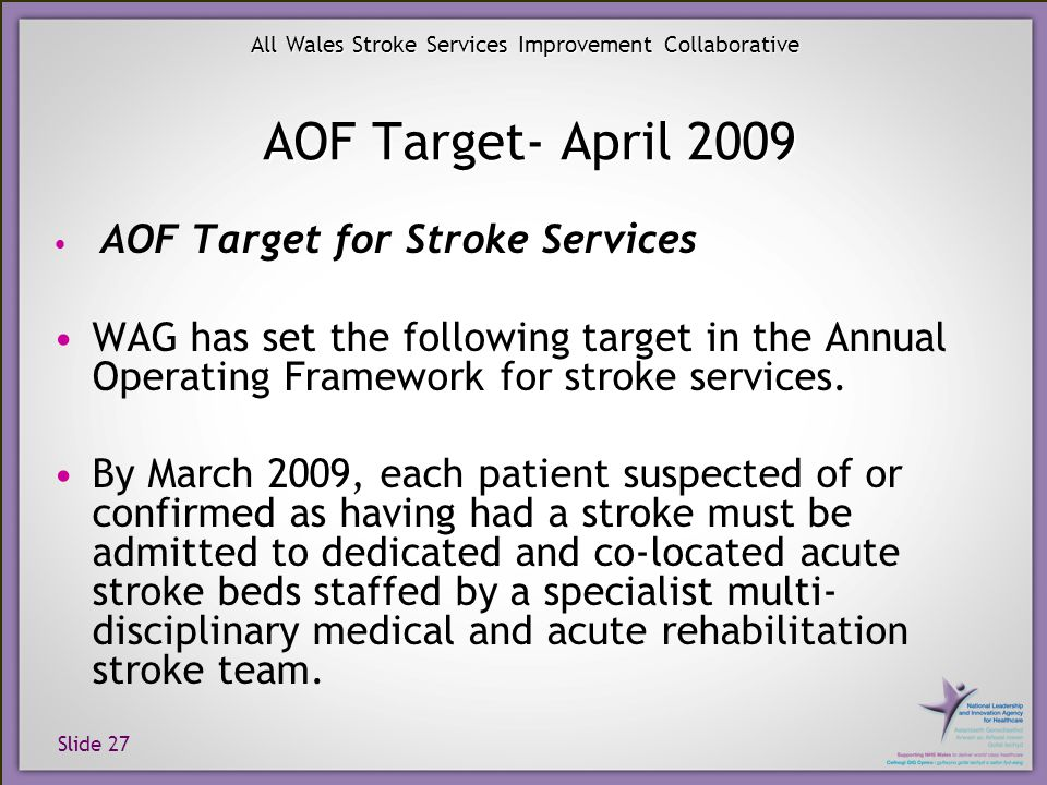 Slide 27 All Wales Stroke Services Improvement Collaborative AOF Target- April 2009 AOF Target for Stroke Services WAG has set the following target in the Annual Operating Framework for stroke services.
