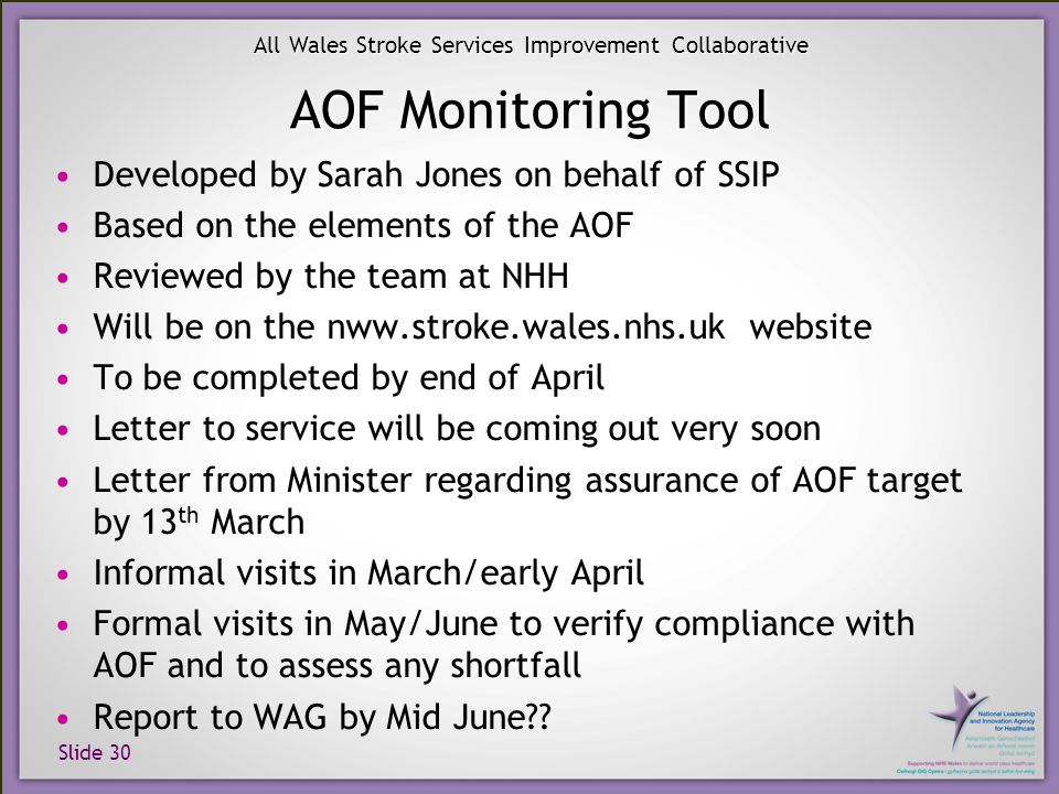 Slide 30 All Wales Stroke Services Improvement Collaborative AOF Monitoring Tool Developed by Sarah Jones on behalf of SSIP Based on the elements of the AOF Reviewed by the team at NHH Will be on the nww.stroke.wales.nhs.uk website To be completed by end of April Letter to service will be coming out very soon Letter from Minister regarding assurance of AOF target by 13 th March Informal visits in March/early April Formal visits in May/June to verify compliance with AOF and to assess any shortfall Report to WAG by Mid June??