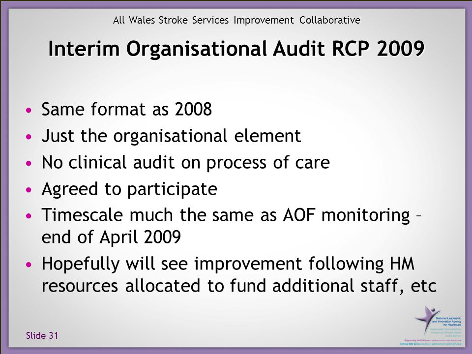 Slide 31 All Wales Stroke Services Improvement Collaborative Interim Organisational Audit RCP 2009 Same format as 2008 Just the organisational element