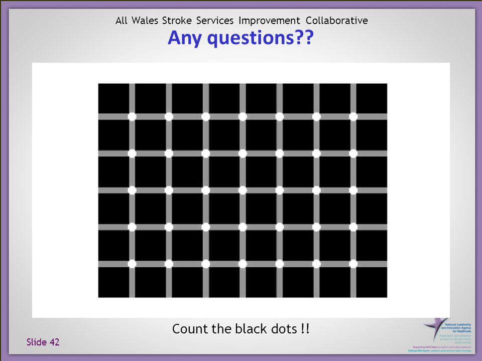 Slide 42 All Wales Stroke Services Improvement Collaborative Count the black dots !! Any questions??