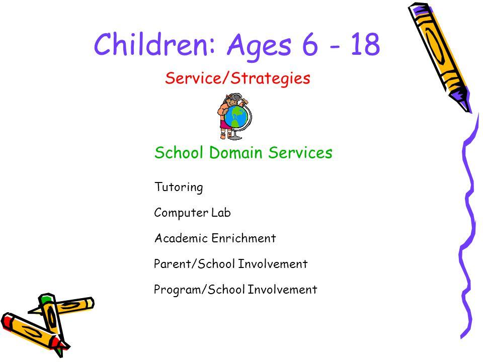 Children: Ages 6 - 18 School Domain Services Service/Strategies Tutoring Computer Lab Academic Enrichment Parent/School Involvement Program/School Involvement