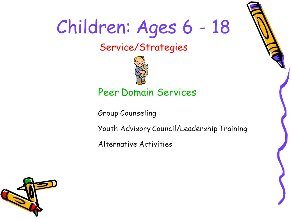 Children: Ages 6 - 18 Peer Domain Services Service/Strategies Group Counseling Youth Advisory Council/Leadership Training Alternative Activities