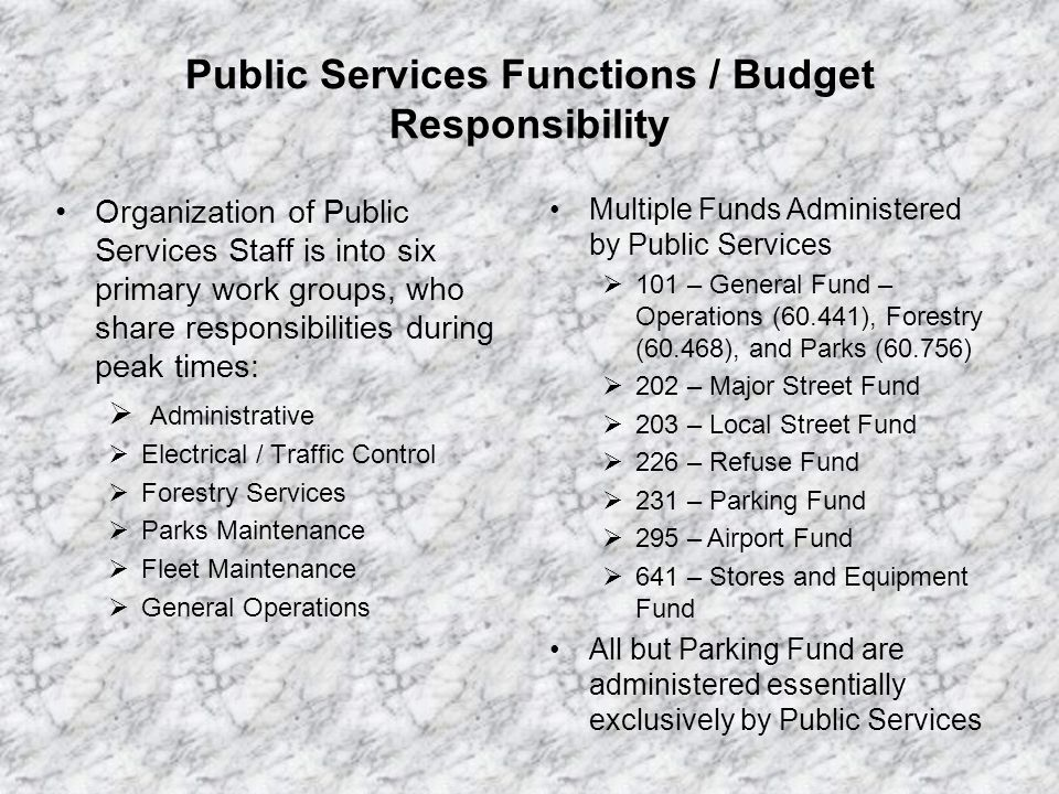Public Services General Fund Budget Discussion Key Statistics: Total DPS gross expenditures projected $2,550,249 for FY 09-10, proposed for $2,445,969 for FY 10-11.