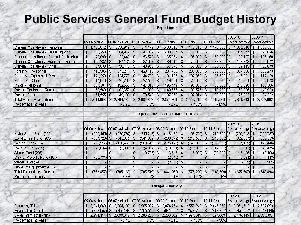 Public Services – FY 10-11 Proposed Expenditure Distribution