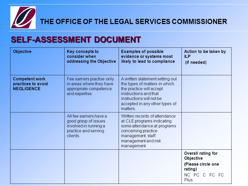 THE OFFICE OF THE LEGAL SERVICES COMMISSIONER SELF-ASSESSMENT DOCUMENT ObjectiveKey concepts to consider when addressing the Objective Examples of possible evidence or systems most likely to lead to compliance Action to be taken by ILP (if needed) Competent work practices to avoid NEGLIGENCE Fee earners practise only in areas where they have appropriate competence and expertise.