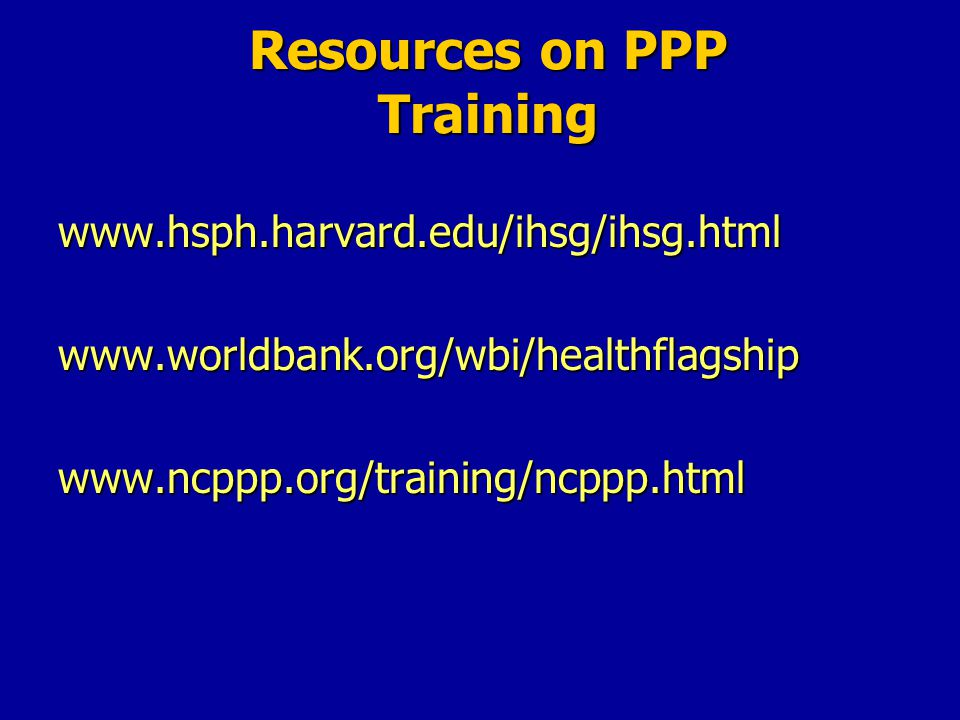 Resources on PPP Training