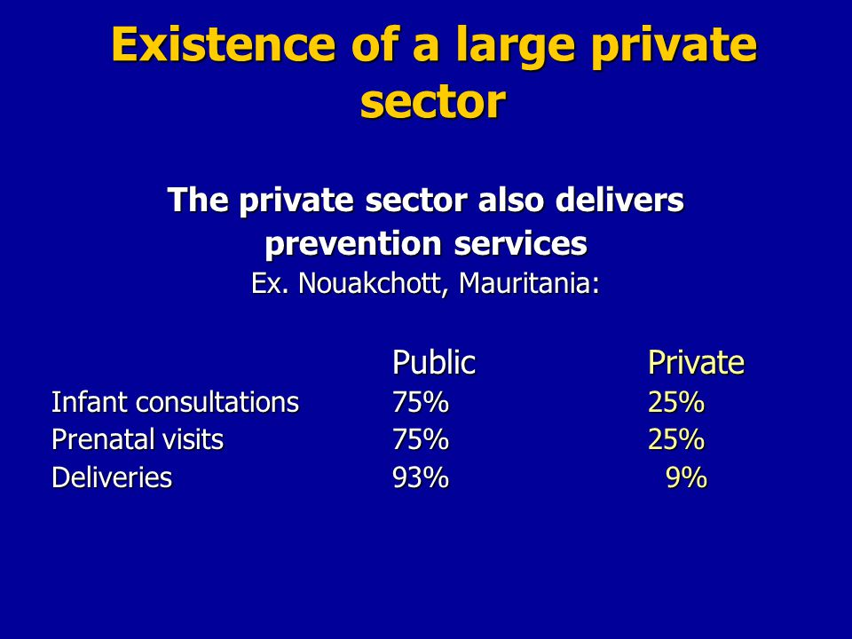 Existence of a large private sector The private sector also delivers prevention services Ex.