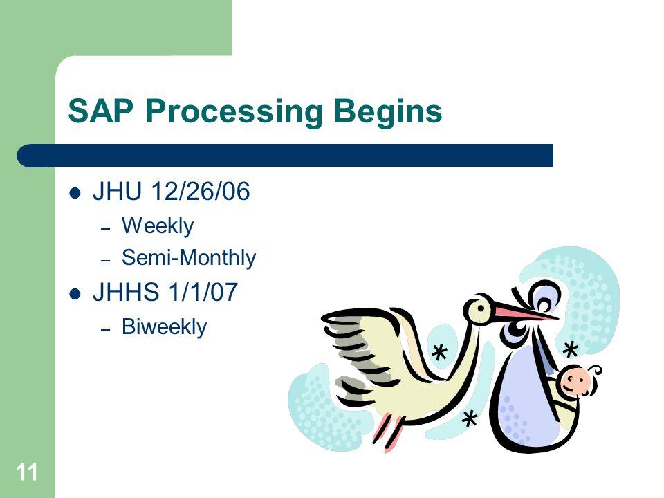 11 SAP Processing Begins JHU 12/26/06 – Weekly – Semi-Monthly JHHS 1/1/07 – Biweekly