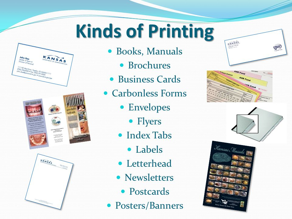 Types of Printing on Press 4 Color ProcessPantone Spot Color CYMK four Color mix or pick your PMS spot Color also Black ink We have typesetters and a graphic artist.