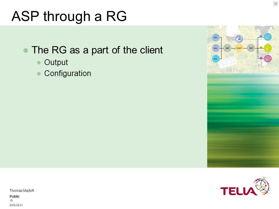 Public Thomas Mejtoft 2002-02-01 19 ASP through a RG Output Configuration The RG as a part of the client