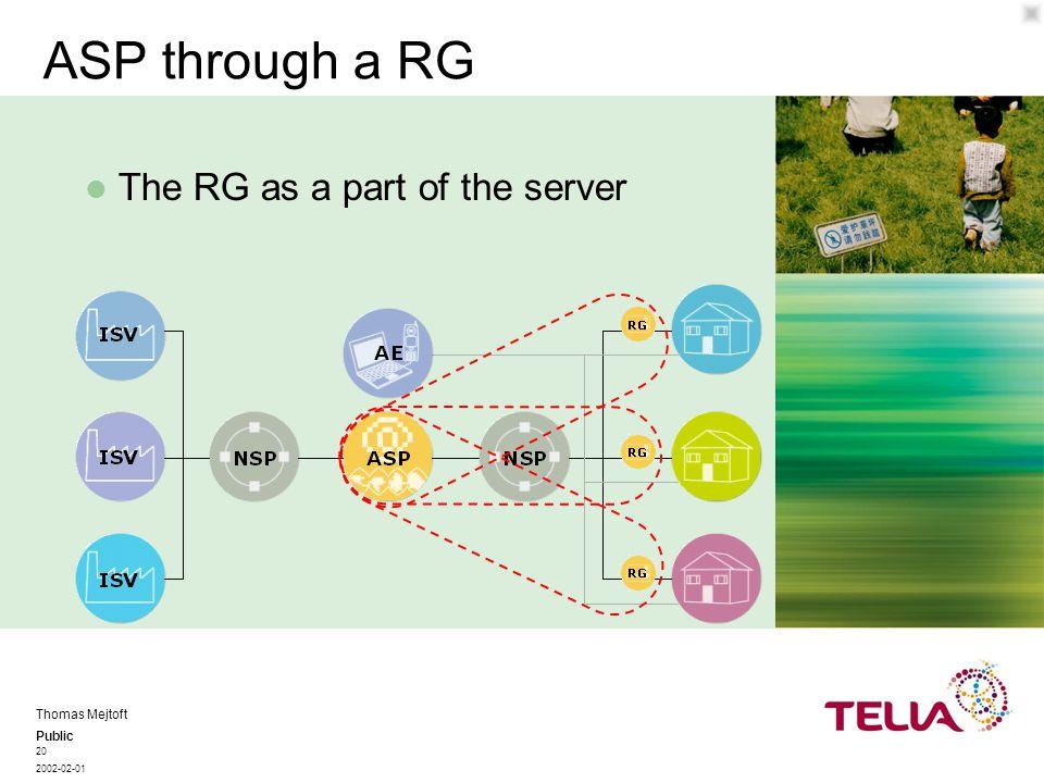 Public Thomas Mejtoft 2002-02-01 20 ASP through a RG The RG as a part of the server
