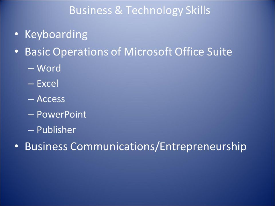 Business & Technology Skills Keyboarding Basic Operations of Microsoft Office Suite – Word – Excel – Access – PowerPoint – Publisher Business Communications/Entrepreneurship