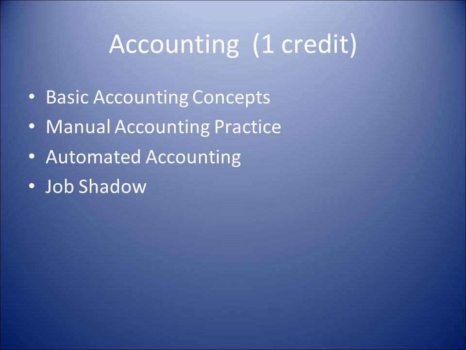 Accounting (1 credit) Basic Accounting Concepts Manual Accounting Practice Automated Accounting Job Shadow