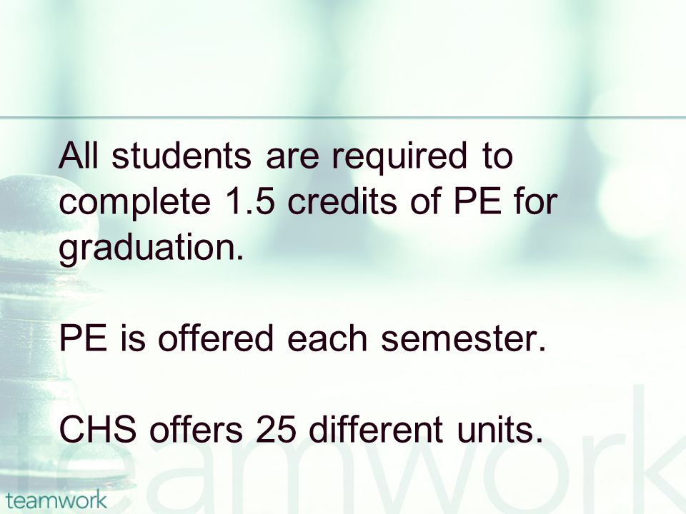 All students are required to complete 1.5 credits of PE for graduation.