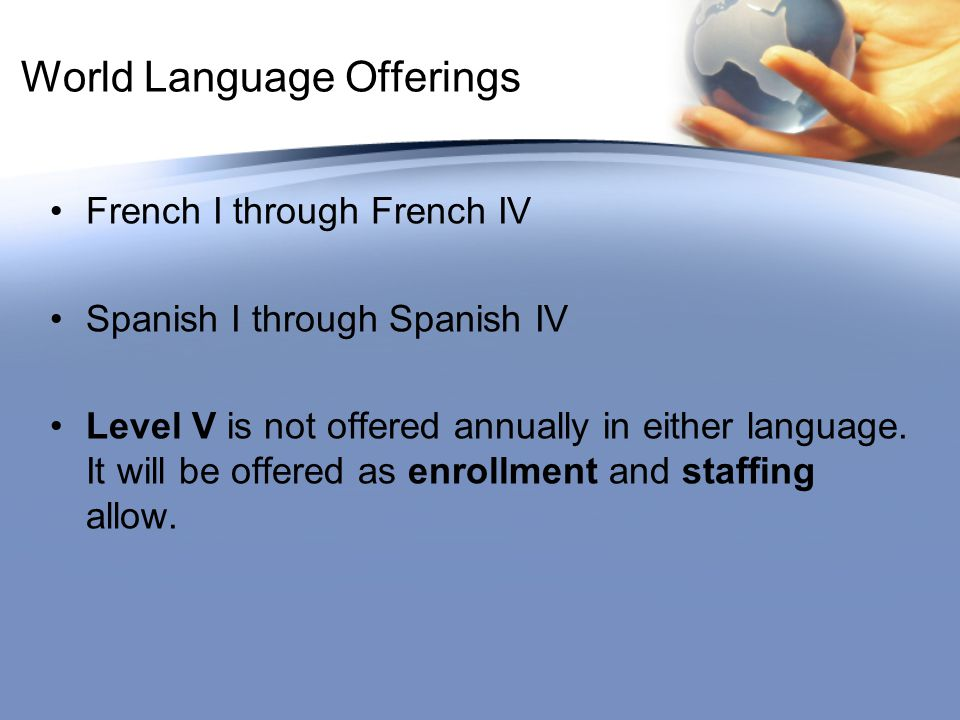 World Language Offerings French I through French IV Spanish I through Spanish IV Level V is not offered annually in either language.