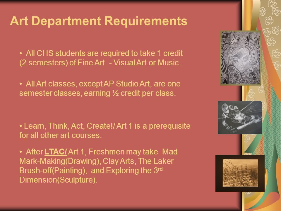 CHS Music Department Evan Peltier– Melissa Towle These courses fit into the Fine Arts requirement.