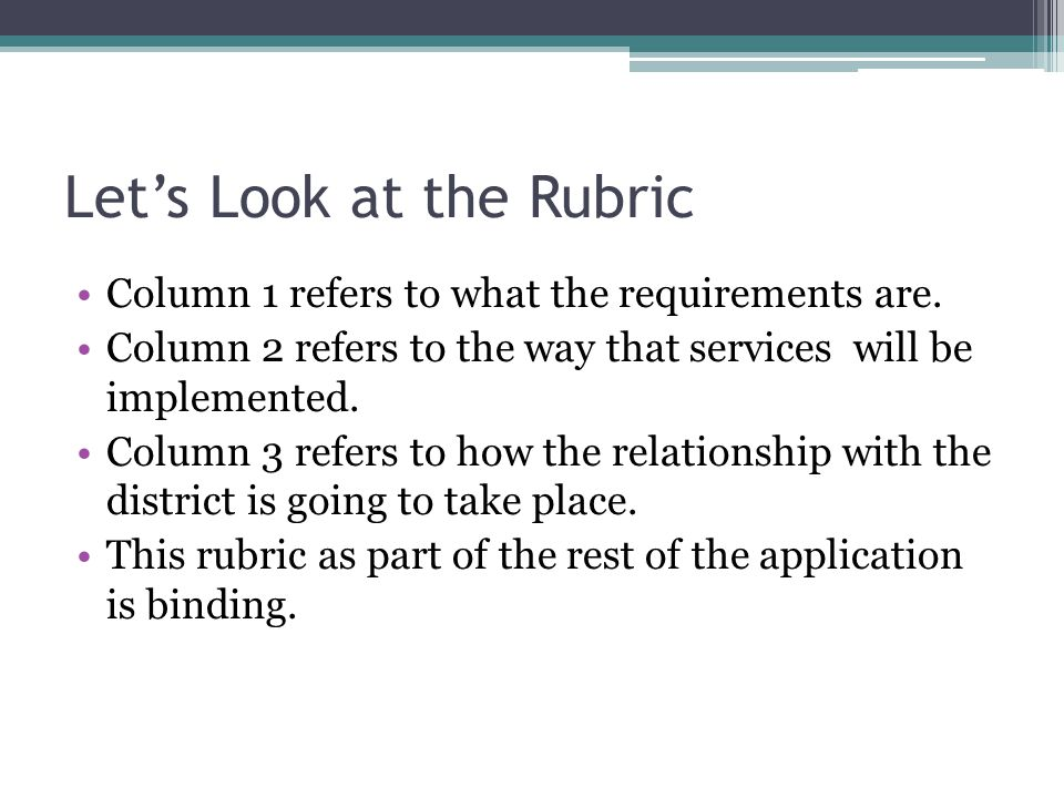 Lets Look at the Rubric Column 1 refers to what the requirements are. Column 2 refers to the way that services will be implemented. Column 3 refers to
