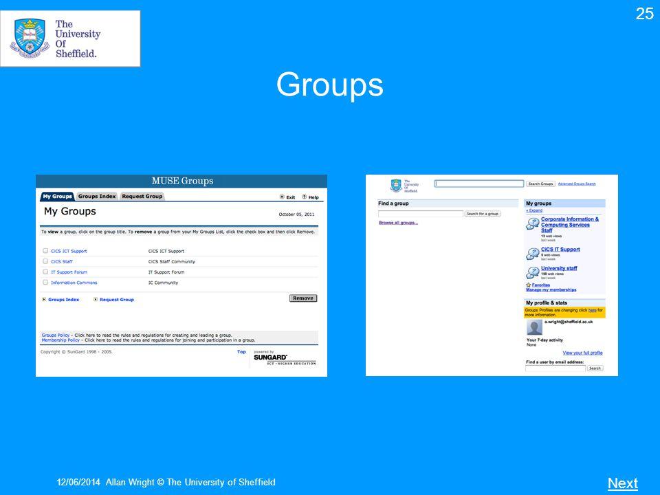 12/06/2014Allan Wright © The University of Sheffield Groups Next 25