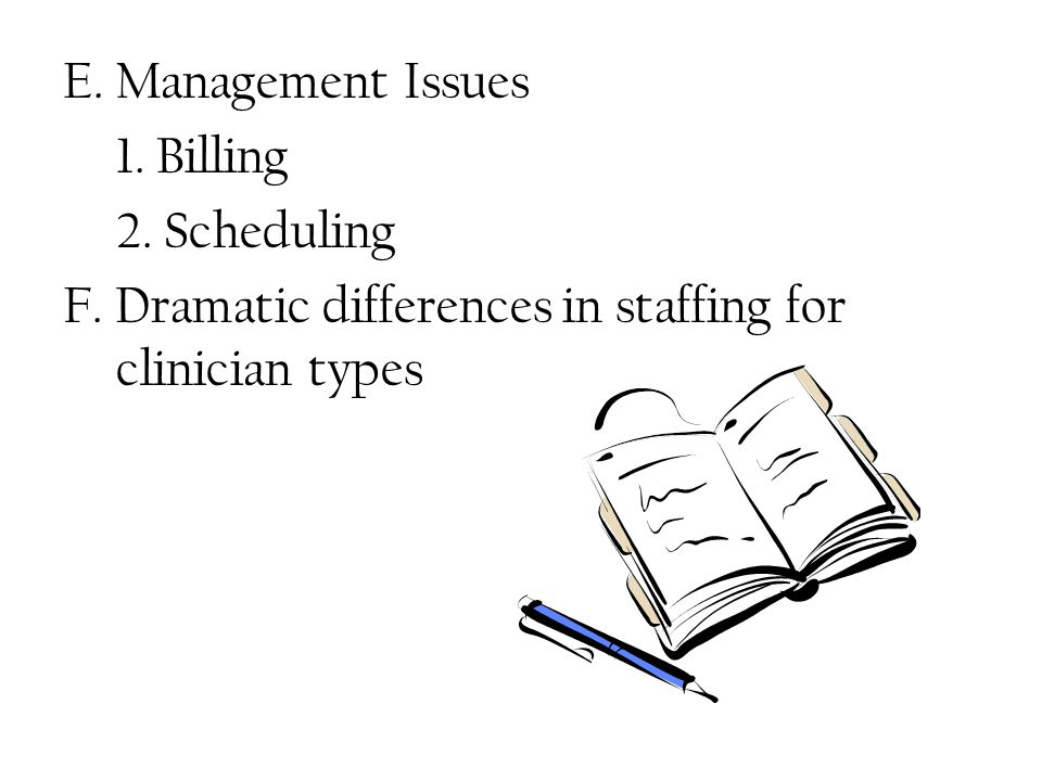 E. Management Issues 1. Billing 2. Scheduling F.