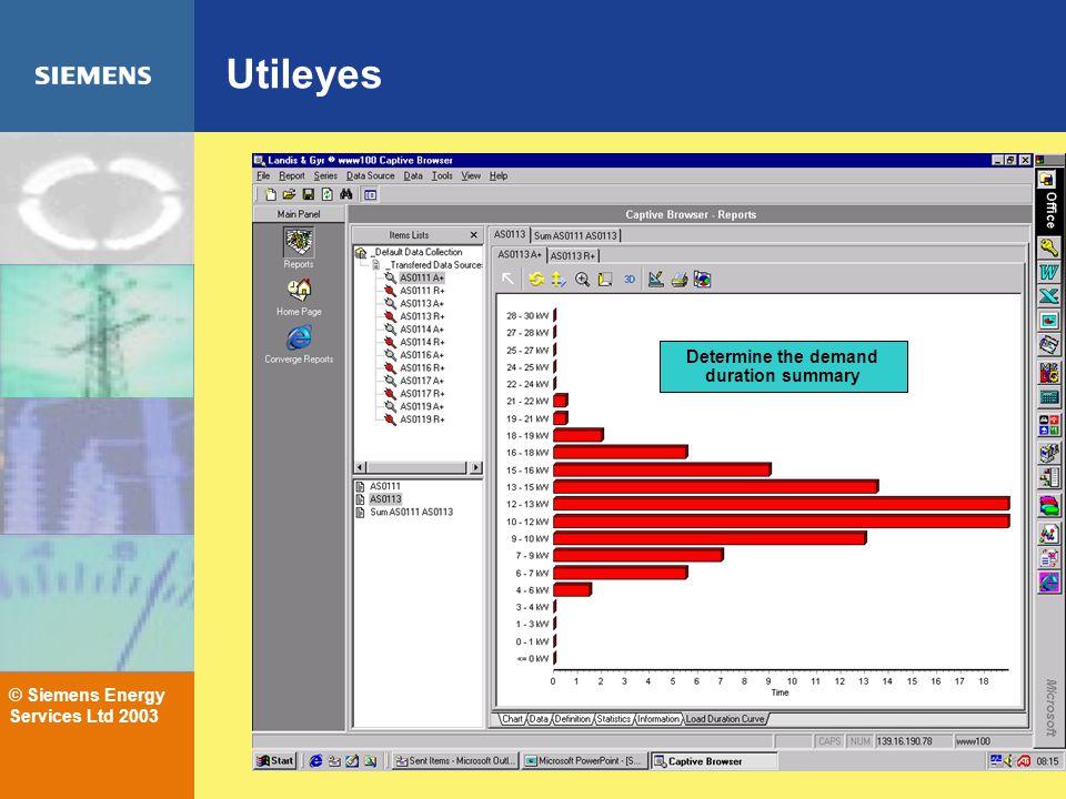 © Siemens Energy Services Ltd 2003 Utileyes Determine the demand duration summary
