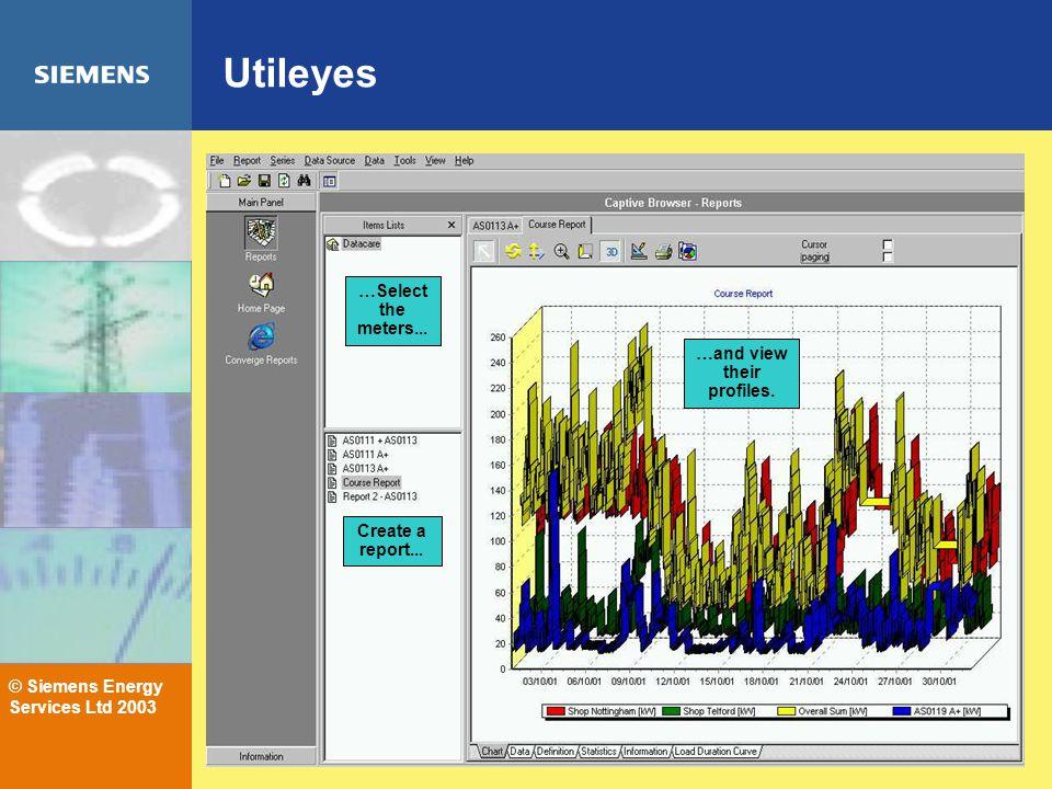 © Siemens Energy Services Ltd 2003 Utileyes …Select the meters...