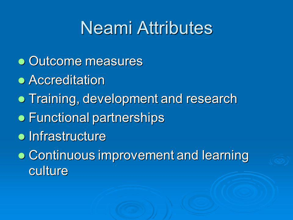 Neami Attributes Outcome measures Outcome measures Accreditation Accreditation Training, development and research Training, development and research Functional partnerships Functional partnerships Infrastructure Infrastructure Continuous improvement and learning culture Continuous improvement and learning culture