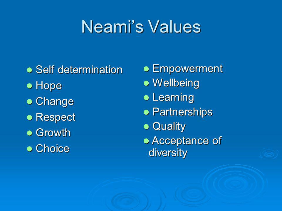 Neamis Values Self determination Self determination Hope Hope Change Change Respect Respect Growth Growth Choice Choice Empowerment Empowerment Wellbeing Wellbeing Learning Learning Partnerships Partnerships Quality Quality Acceptance of diversity Acceptance of diversity