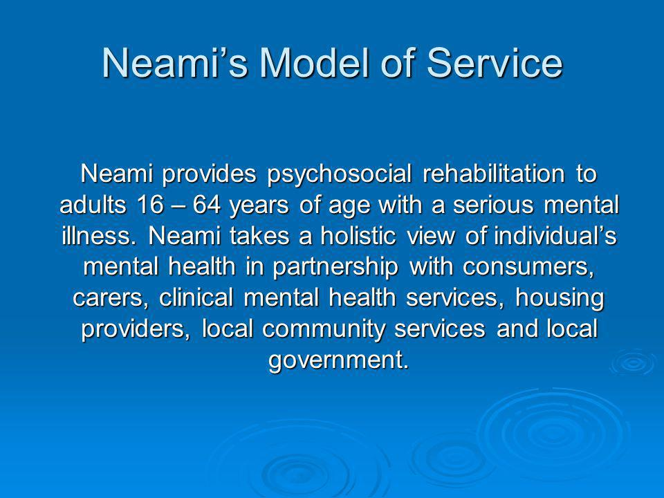 The Team Approach Neami utilises the Team Approach to ensure quality and consistent services to consumers.
